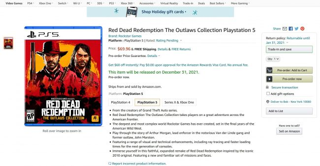 Rumour: avvistata su Amazon Red Dead Redemption: The Outlaws Collection