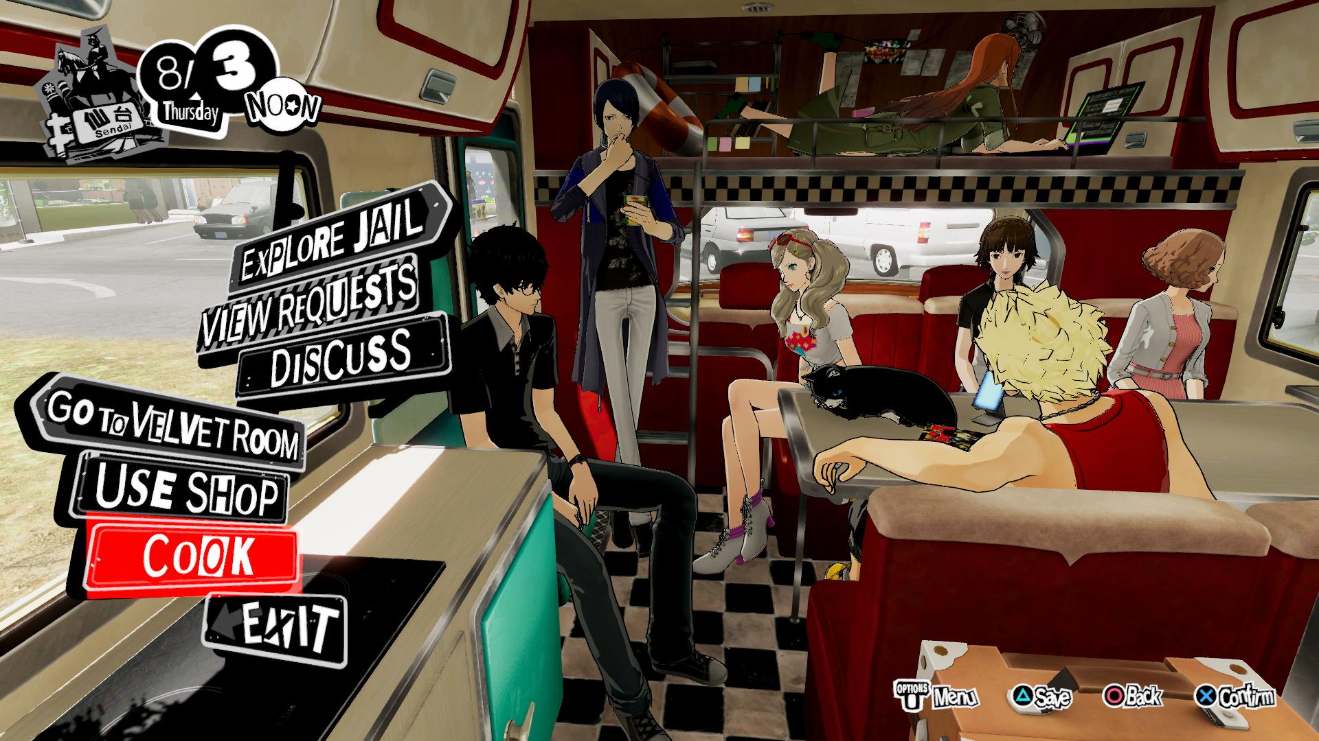 Persona 5 strikers menù cucina
