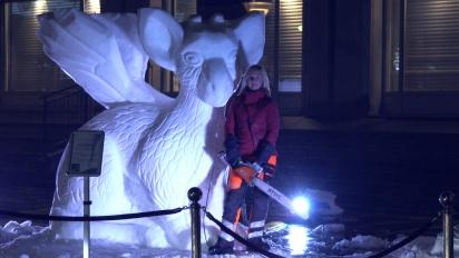 The Last Guardian - Trico Snow Sculpture