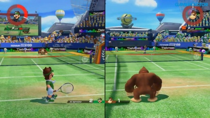 Mario Tennis Aces - Split-screen Multiplayer Gameplay
